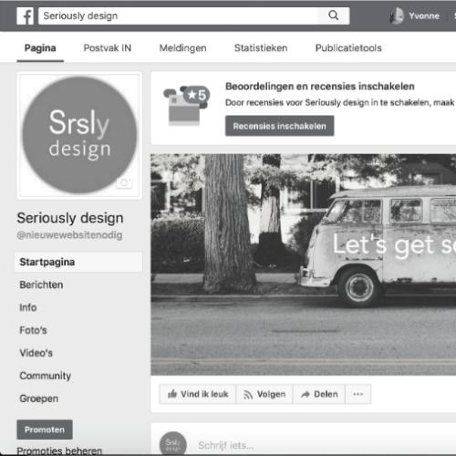 Facebook bedrijfspagina Serioulsy design