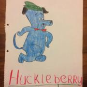 Kindertekening van Yvonne Serre van Huckleberry hond